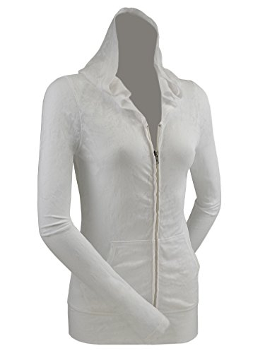 - Kavio! Junior Retro Wash Burnout Jersey Long Sleeve Zip Hoodie White M