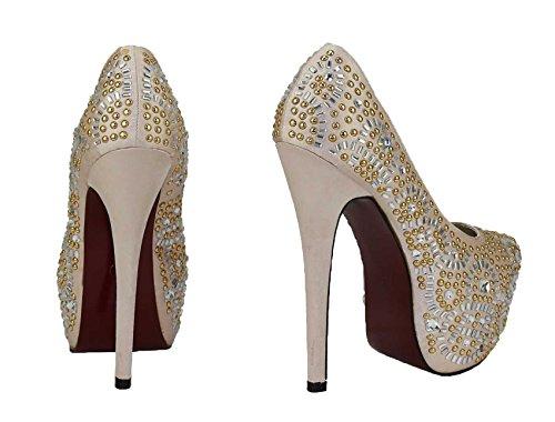 Günstige Schuhe Damen Pumps Perlen Kristall-Dame-Plattform-Party Hochzeits-Absatz New Embellished Größe 3 -8 Stil 2 - Champagner