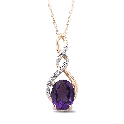 Amethyst Necklace in 10k Yellow Gold with Diamond - Gold Amethyst Necklace Yellow
