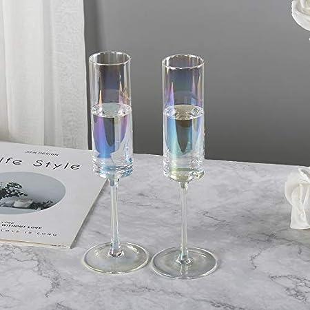 REAWOW Copas De ChampáN Modernas Flautas CáLiz Color Perla Juego De 2 Soplado A Mano Cristal Arco Iris Copa De Vino 6 ONZAS Regalo Elegante
