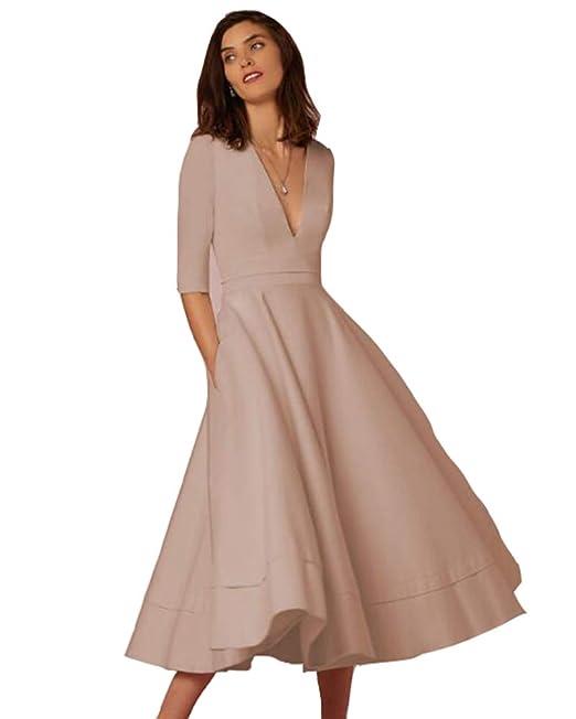 san francisco dacc9 5f253 Donna Vestiti Lunghi da Matrimonio Elegante Collo V Vestito ...