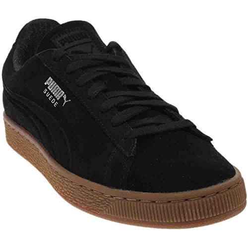PUMA Men's Suede Classic Debossed q4 Fashion Sneaker, Black-Glacier Gray, 9 M US