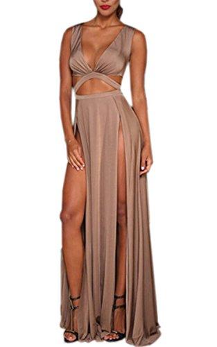 Zeagoo Women's Sexy Sleeveless V-neck High Waist Hollow Out Maxi Dress