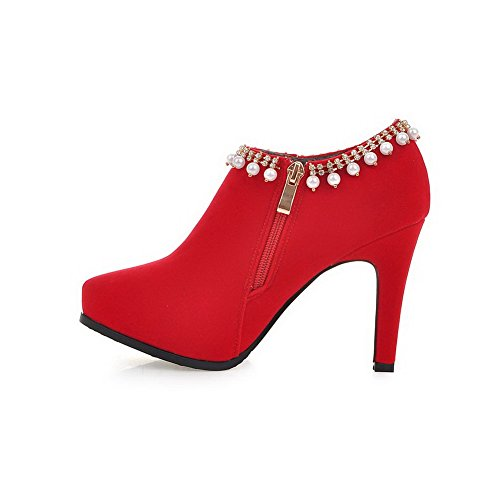 AllhqFashion Mujeres Cremalleras Sólido Puntera Redonda Tacón de aguja Tobillo Botas con Joyas Rojo