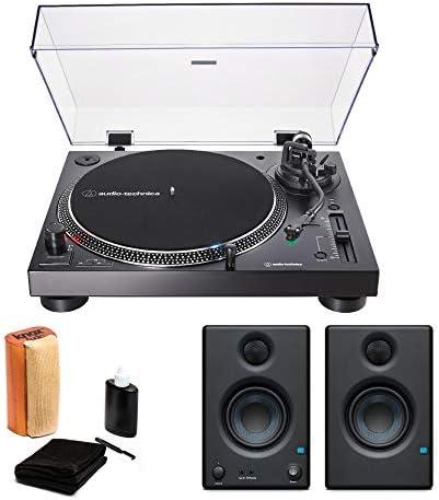 Audio-Technica AT-LP120XUSB USB Turntable Black with Presonus Eris 3.5 Monitors Pair and Knox Vinyl Record Cleaning Kit
