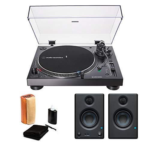 Audio-Technica AT-LP120X-USB USB Turntable Black with Presonus Eris 3.5 Monitors (Pair) and Knox Vinyl Record Cleaning Kit