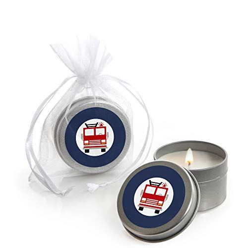 Fired Up Fire Truck - Candle Tin Firefighter Firetruck Baby Shower or Birthday Party Favors - Set of 12