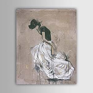 SYF-- pintado a mano las personas pintura al óleo con marco estirado