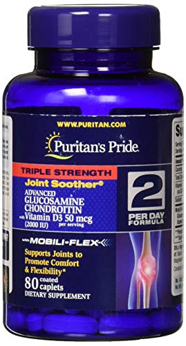 Puritans Pride Triple Strength Glucosamine Chondroitin with Vitamin D3 Caplets, 80 ()