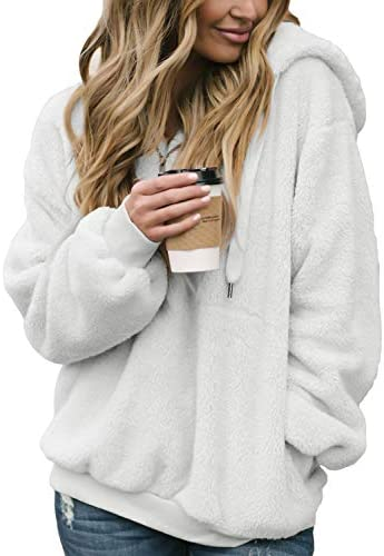 Aleumdr Womens Oversized Warm Fuzzy Hoodies Cozy Loose 1/4 Zipper Pullover Hooded Sweatshirt Outwear with Pockets