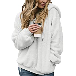 Women's Fuzzy Casual Loose Sweatshirt Hooded  Outwear S-XXL