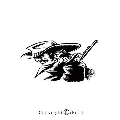 Western Large Premium Quick Dry Cotton & Microfiber Bath Towel,Profile Portrait of a Cowboy with Revolver Monochrome Dangerous Man in Texas Decorative,for Travel Sports & Beach,W70.8 x L31.4 Black an ()