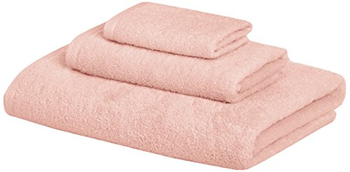 AmazonBasics 3 Piece Cotton Quick-Dry Bath Towel Set - Petal Pink