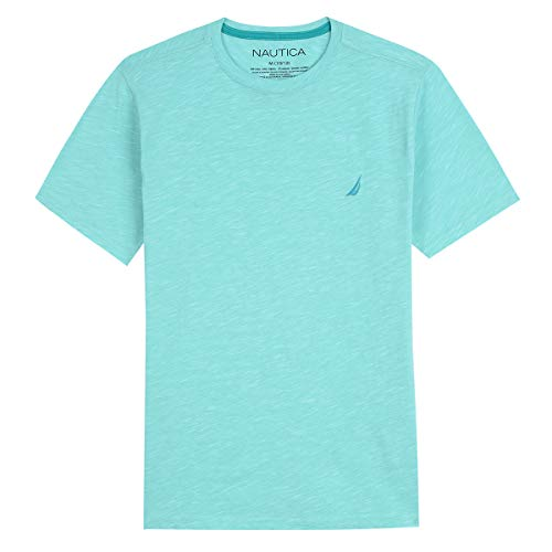 Nautica Boys' Short Sleeve Solid Crew-Neck T-Shirt, Evan Pool Blue, Medium (10/12)