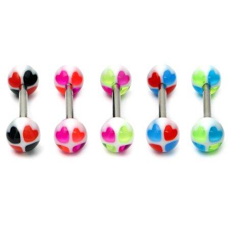 Acrylique Cœur Langue Bars   acrylique Cœur Mamelon Bars   Lot de 5Barres en acier chirurgical comme     1,6mm   16mm Longueur   Boules 6mm   Lot de valeur Multi