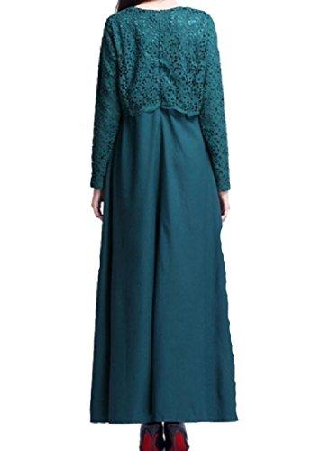 Robes Coolred Travestissement Grande Dentelle Pendule Muslim-col Ras Du Cou Parti Lac Bleu Robe Longue