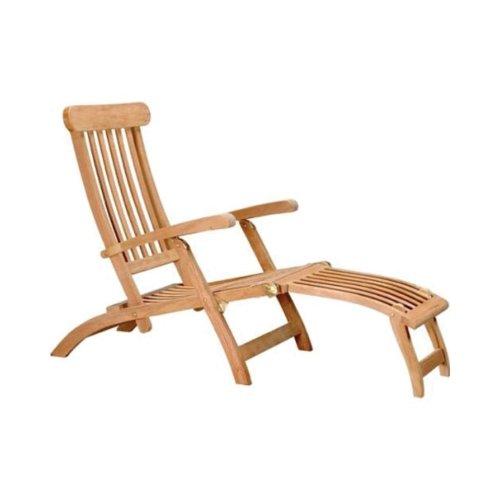 - Priya Home Furniture Solid Teak Wood Outdoor Patio Classic Folding Steamer Reclining Deck Chair