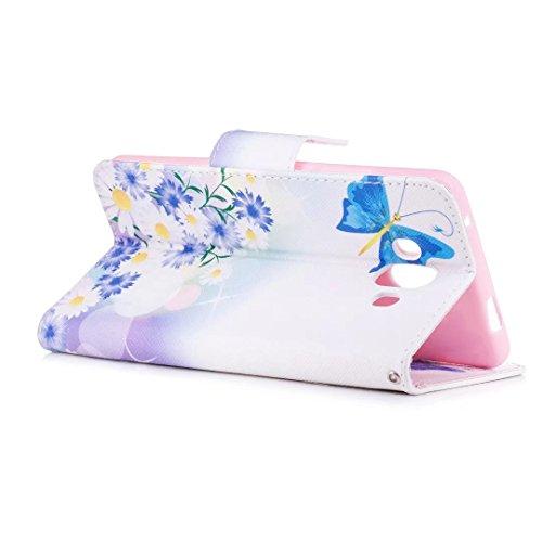 COWX Mate 10 Hülle Kunstleder Tasche Flip im Bookstyle Klapphülle mit Weiche Silikon Handyhalter PU Lederhülle für Huawei Mate 10 Tasche Brieftasche Schutzhülle Schmetterlinge in der Liebe