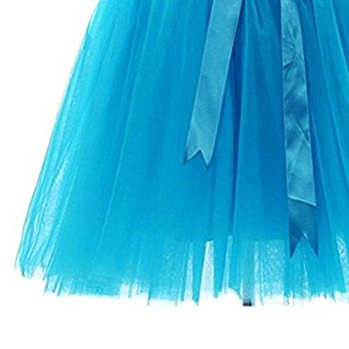Corta Oudan Donne Ragazze Anni Tulle Due Variegati Arco In A Colori '50 Tutù Giri Gonna Per Blu Con Stile Balletto r7SnXr