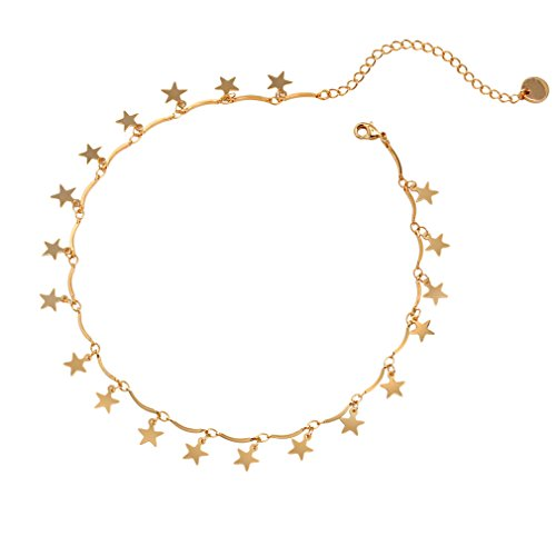 Manerson Lucky Star Choker Necklace Pendant Disc Chain Statement Necklace ()