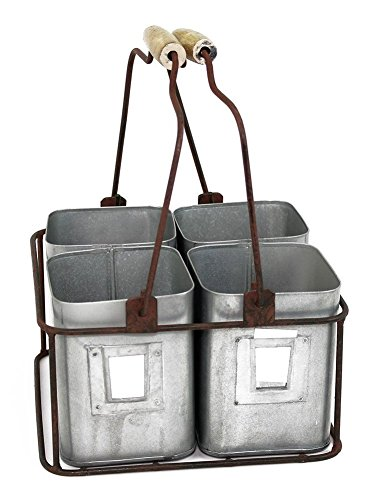 - Colonial Tin Works Metal Four Tin Organizer with Handles, 9