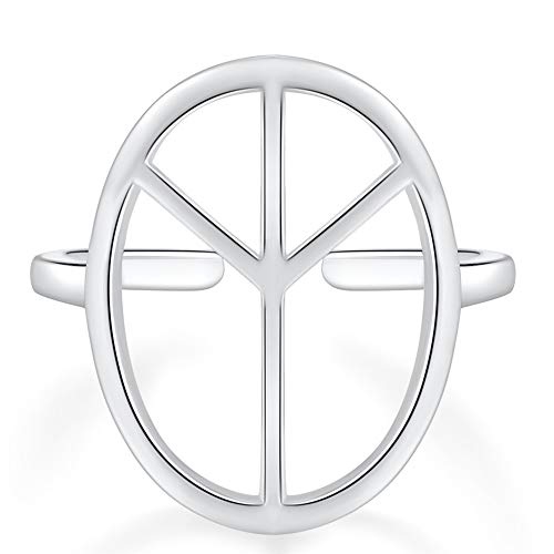 QTRESOR 925 Sterling Silver Open Symbol World Peace Sign Signet Ring for Women for Men for Teen Size 5-9 Adjustable ()