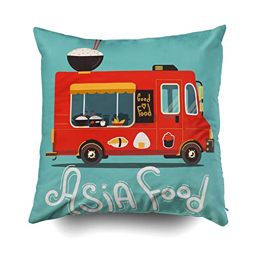 Musesh Holiday Throw Pillow Case, Vector Asia Food Truck Illustration with Big Rise Plate for Sofa Home Decorative Pillowcase 18X18 Inch Pillow Covers