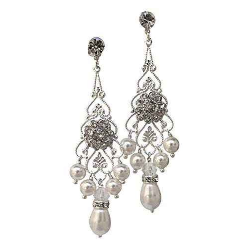 HisJewelsCreations Bridal Crystal and Simulated Pearl Chandelier Earrings with Crystal from Swarovski ()