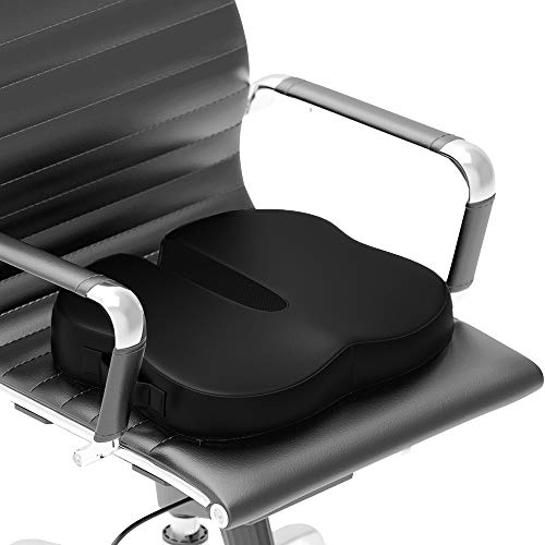 Modvel Faux Leather Seat Cushion for Office Chair | Lower Back Pain, Tailbone, Coccyx & Sciatica Relief | Pure Memory Foam For Relaxing Yoga & Meditation | Home & Car Use (MV-106) (Cushion Leather Seat)