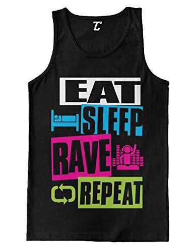 Eat Sleep Rave Repeat - Neon Club Music Men's Tank Top (Black, Large)