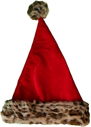 Wild Red Velvet Santa Claus Hat with Animal Print Leopard Cuff and Pom Pom