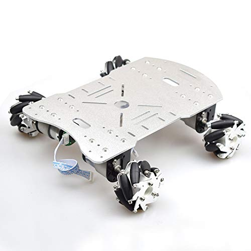 4WD Smart Robot Car Chassis with 4pcs 60mm Mecanum Wheels 12V High Torque Motor for Arduino (Silver)