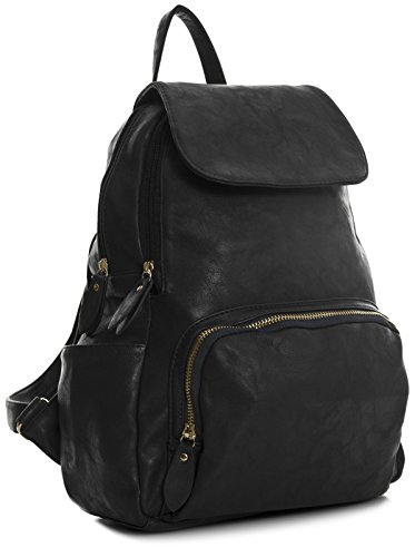 Zip Shop Faux Vegan Flap Unisex Handbag Black Big Medium Gold Plain Backpack Leather Medium Size Bag Shoulder Opening qw5xTgxWIt