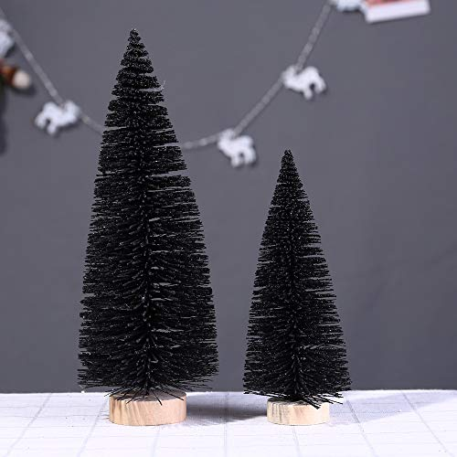 Mini Christmas Tree 7.8/5.9 Inch Table Chriatmas Tree Black Artificial Christmas Balsam Pine Tree in Wooden Base Tabletop Xmas Trees Ornaments Christmas Party Office/Home Decoration (B=5.9 Inch) by Smallrabbit (Image #5)