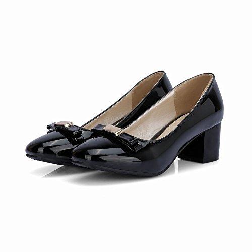 Charm Foot Mujeres Sweet Bows Chunky Bombas De Tacón Zapatos Negro