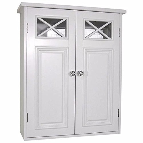 White Woodtraditional Style 2 Door Bathroom Wall Cabinet Includes