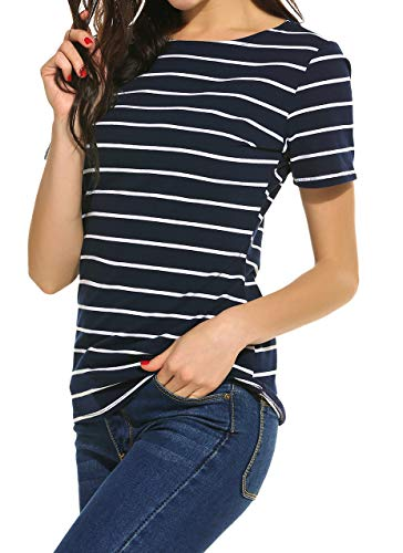 SimpleFun Women's Summer Stripped Tops Blouse Casual Raglan Tees T Shirts (XXL=US 10-12, Navy Blue)