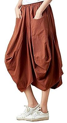 Congcong Women's Vintage Irregular Hem Elastic Waist Linen Midi Skirt