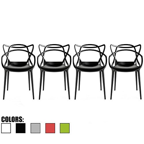 2xhome Set of 4 Black Stackable Contemporary Modern Designer Plastic Chairs with Arms Open Back Armchairs for Kitchen Dining Chair Outdoor Patio Bedroom Accent Patio Balcony Office Work Garden Home
