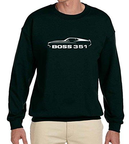 1971 Ford Mustang Boss 351 Classic Outline Design Sweatshirt 3XL forest