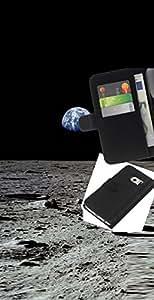 LECELL--Cuero de la tarjeta la carpeta del tirón Smartphone Slots Protección Holder For Samsung Galaxy S6 EDGE -- Tierra Luna --