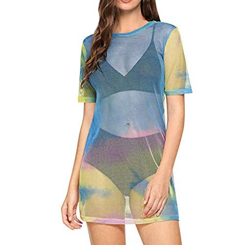 - YKARITIANNA Women's Hal See-Through Beach Cover Ups Short Sleeve See Through Sheer Mesh T Shirt Dress