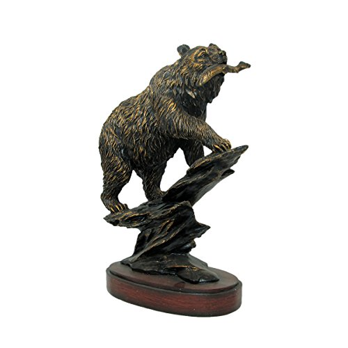 Bronzed Animal Collection Large Bear Eating Fish with Wooden Base Figurine