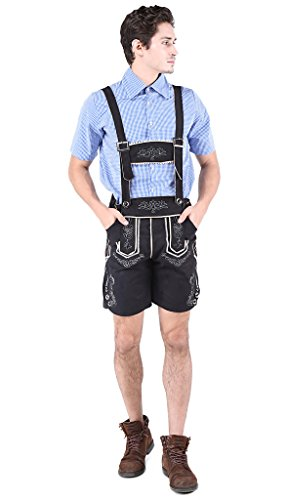 Alivila.Y Fashion Mens Oktoberfest Bavarian Lederhosen With Shirt Costume Set 528-Black-M (Bavarian Costume Men)