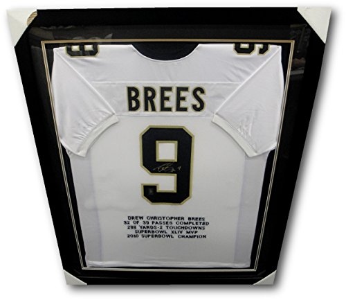 (Drew Brees Hand Signed Autographed Jersey Custom Framed W/Engraved Stats)