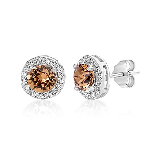 Devin Rose Round Halo Stud Gift Earrings for Women Made With Swarovski Crystals in 925 Sterling Silver (Light Smoked Topaz Crystal Imitation November Birthstone) -