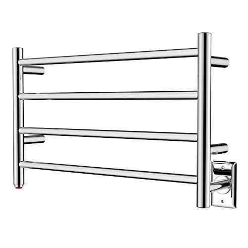 HEATGENE Towel Warmer 4 Bar Towel Dryer Wall-Mounted Plug-in Bath Towel Heater -