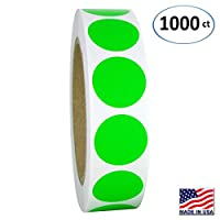 """1"""" Neon Green Round Color Coding Circle Dot Labels on a Roll, 1000 Stickers, 1 inch Diameter."""