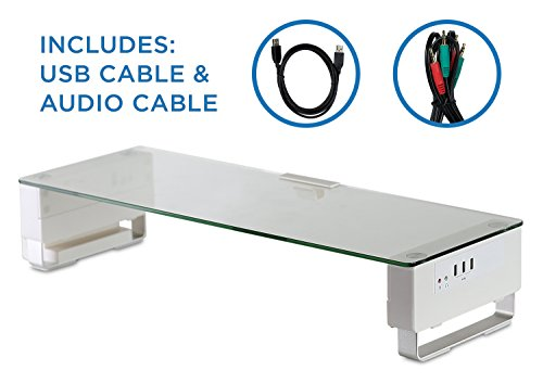 Mount-It! Computer Monitor Stand with 3 USB Ports Desktop Riser - Clear Tempered Glass Aluminum Legs - Fits 24 - 27 - 30 - 32 Inch Screens - 66 Lbs Capacity