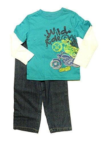 Kids R Us Toddler Boys Blue Wild Ride Motorcycle 2 Piece Pants & Shirt Set 3T